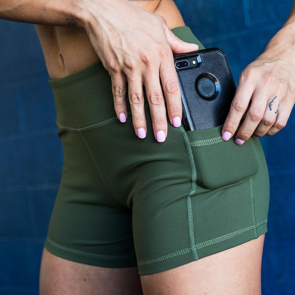 Rise & Grinds Booty Shorts (Tactical Green)