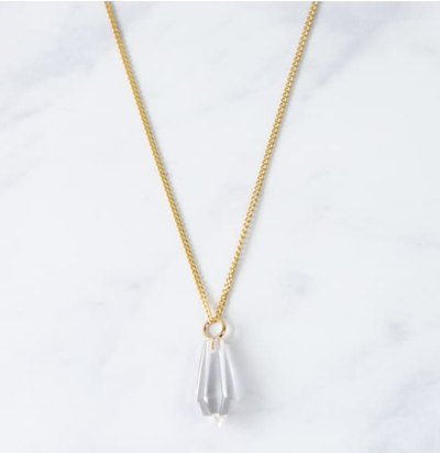 Elena Crystal Gold Necklace - Clear Quartz Pendant