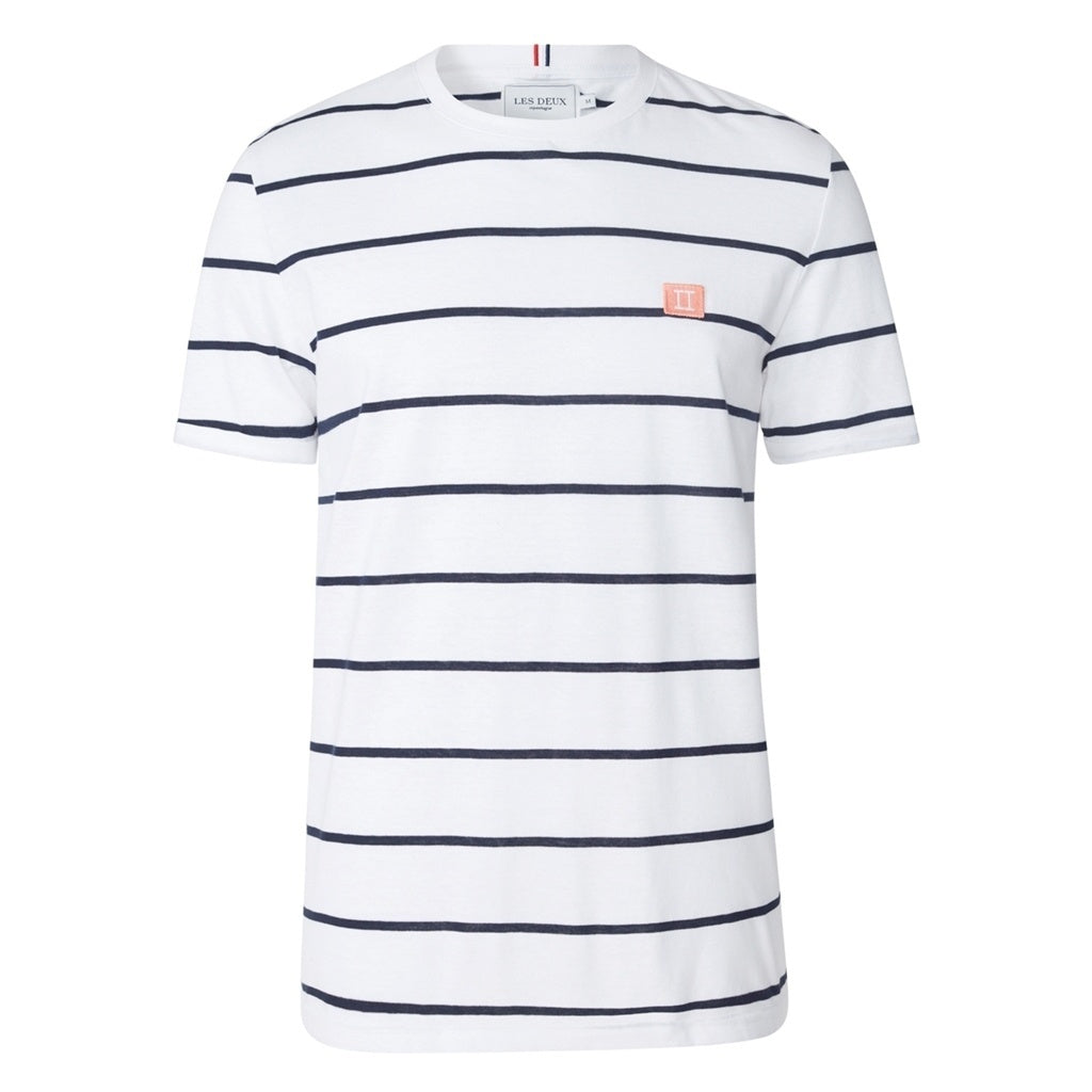 Piece Stripe T-Shirt - White/Navy Stripes