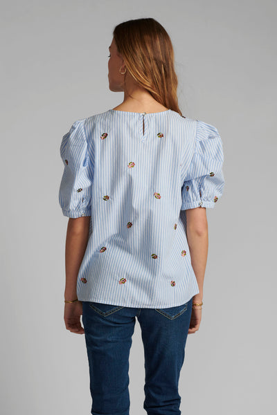 Nudhalia Blouse - Blue Stripe Print