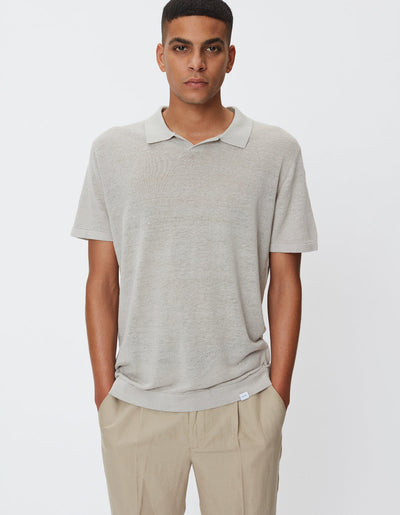 Elba Linen Polo - Grey Mirage
