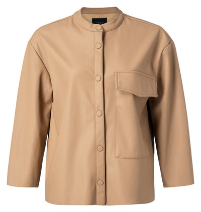 Faux Leather Shirt - Dusty Toffee