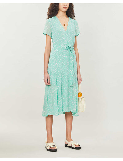 Klea Long Dress - Mint and White Flowers