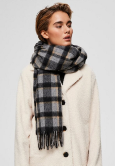 Checked Wool Scarf  - Black