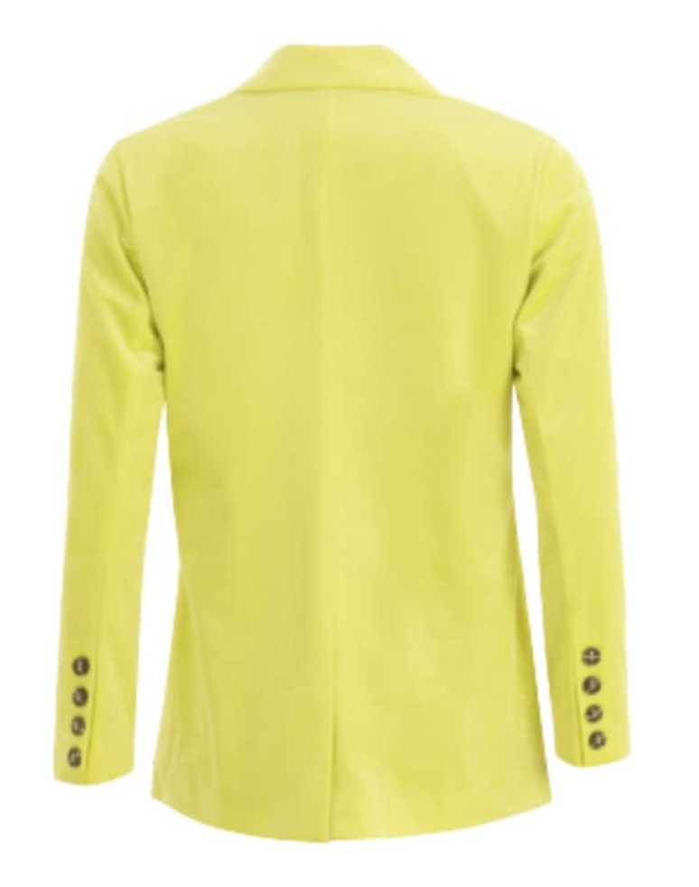 Suit Jacket with Button Closure - Neon Yellow