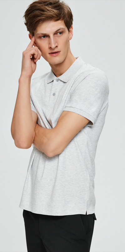 Paris Short Sleeved Polo - Light Grey Melange