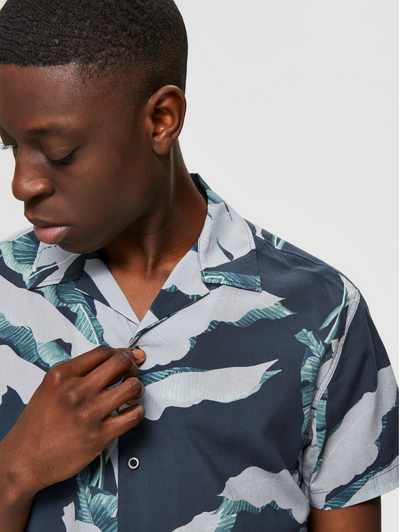 Gavalon Botanical Print Shirt - Black Multi Print