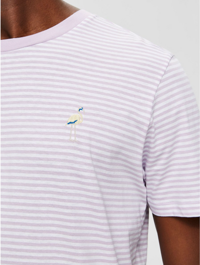 Wayne Striped Emblem Tee - Lavender / Bright White