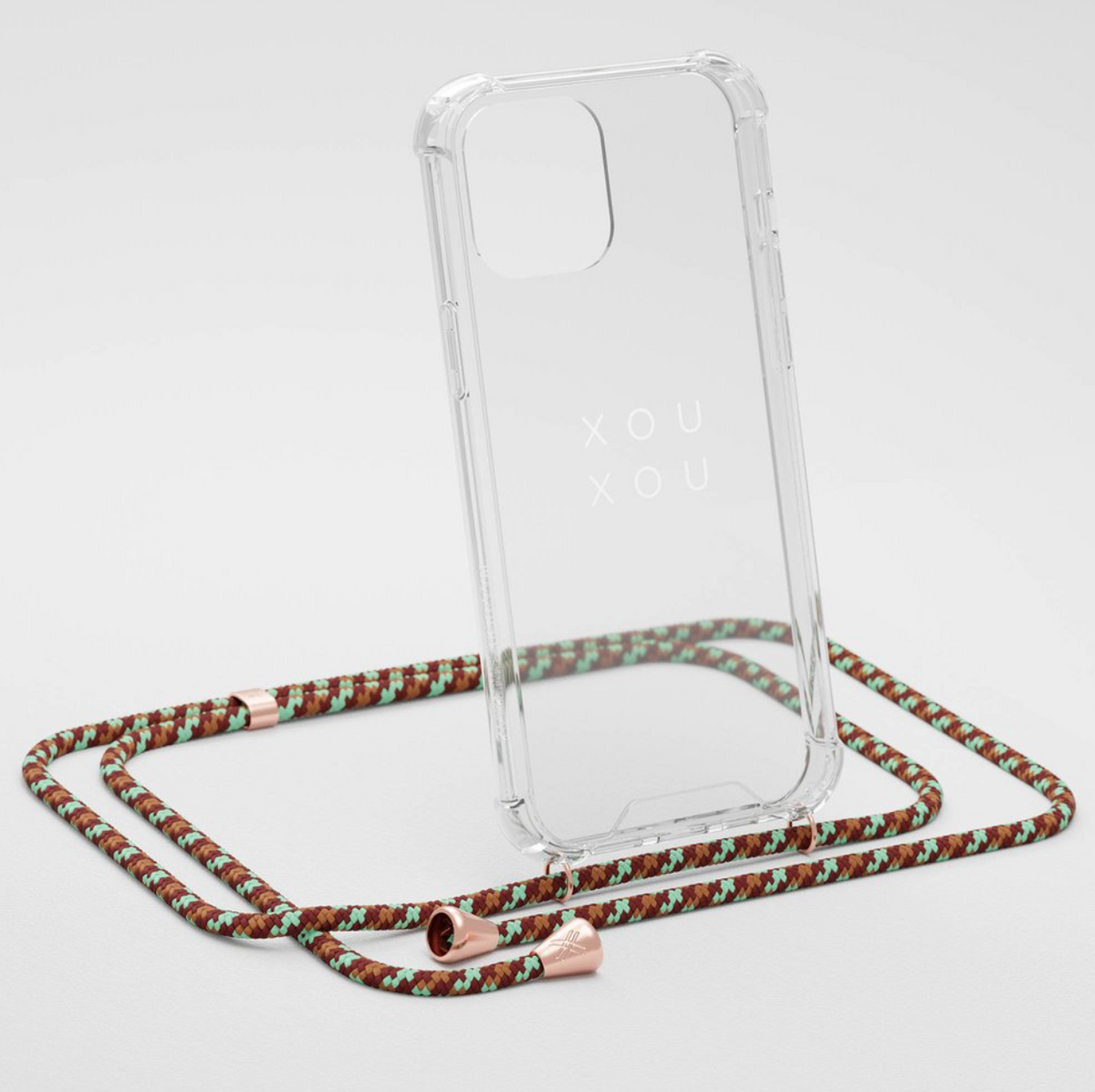 Phone Chain w. Clear Phone Case - Copper Camouflage