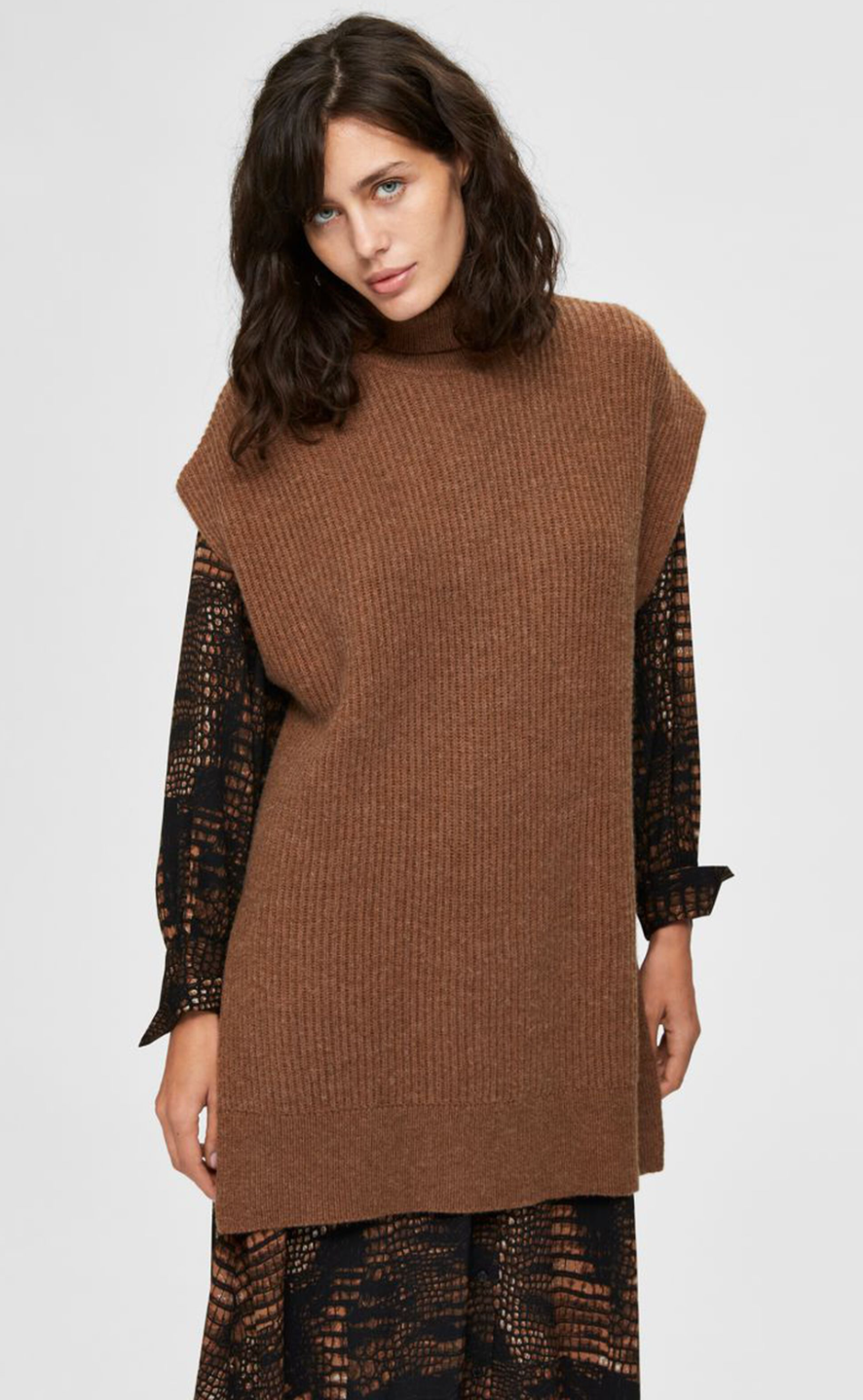 Sanna Tunic Rollneck Jumper - Brown/Toffee