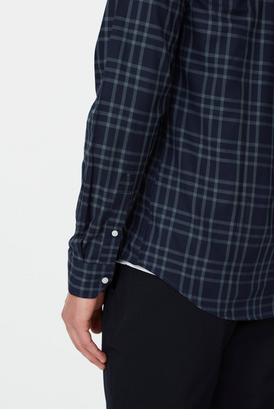 Hubert Check Flannel Shirt - Dark Navy/Blue Fog