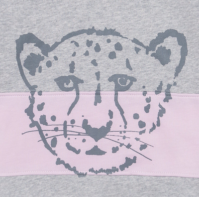 Cheetah Block Kids Sweater - Grey & Pink