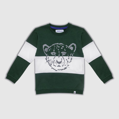 Cheetah Block Kids Sweater - Green & White