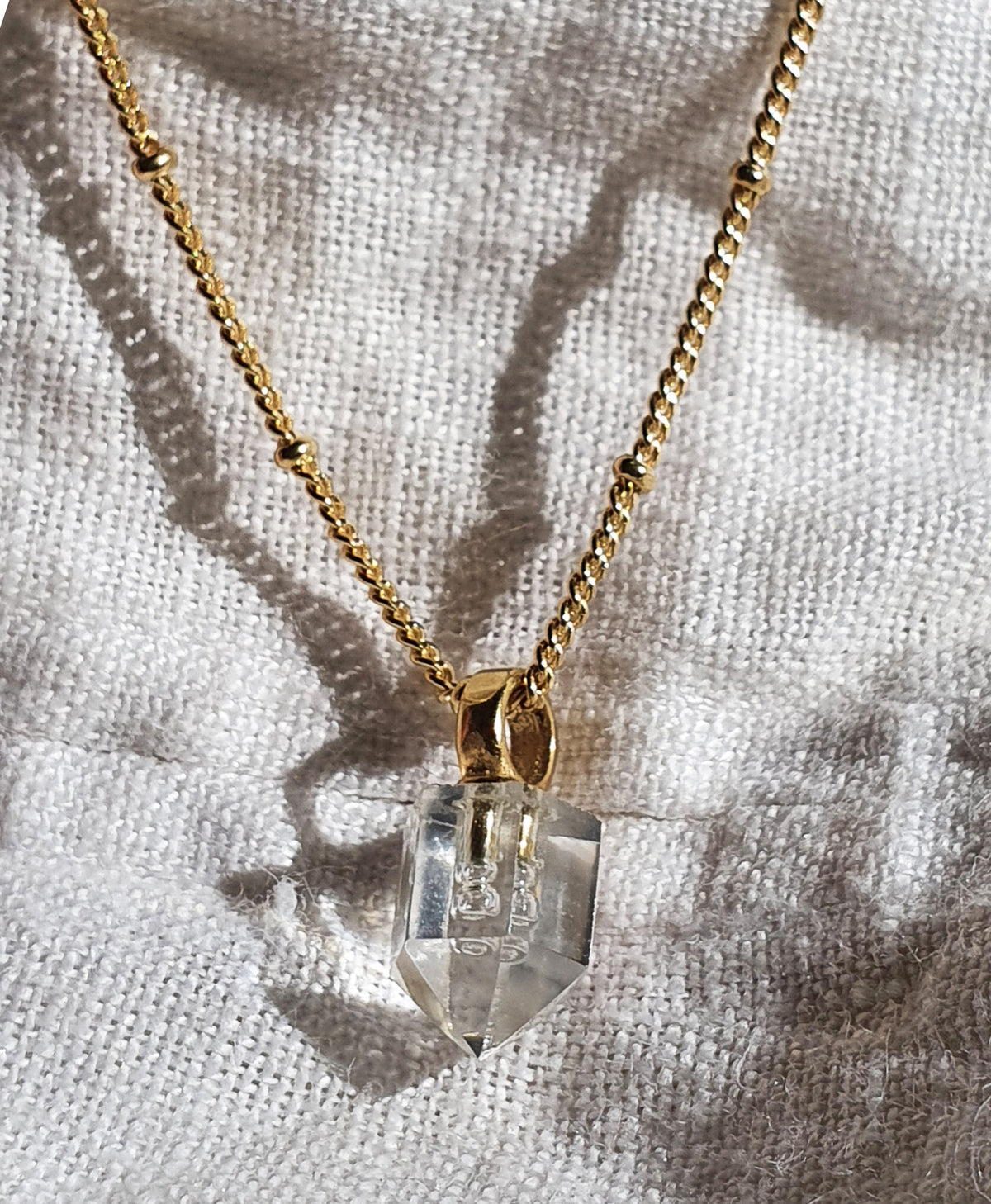 Angie Gold Necklace - Clear Quartz Pendant