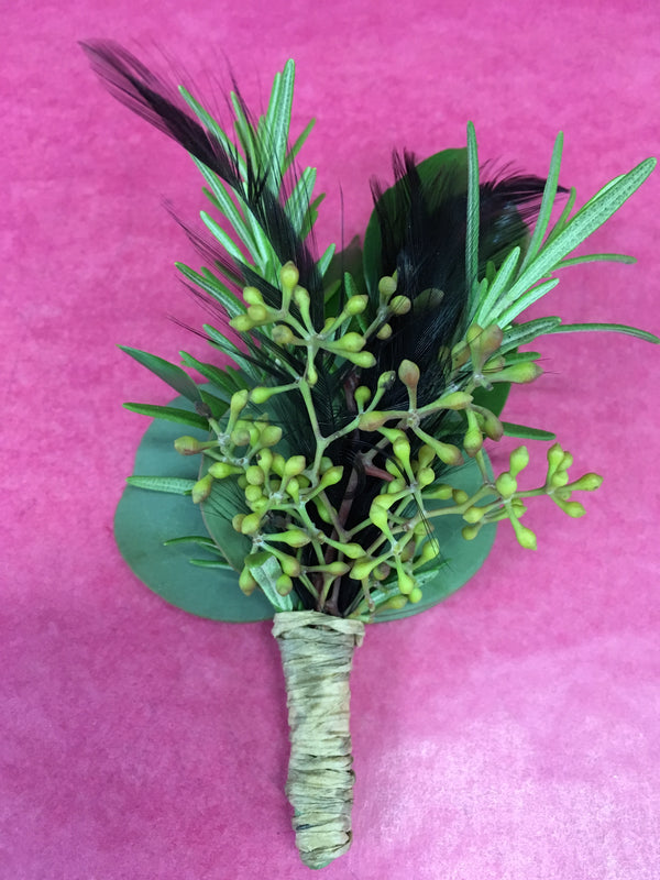 Rosemary, Feather and eucalyptus Boutonniere - Winnipeg Flower Delivery by Broadway Florists