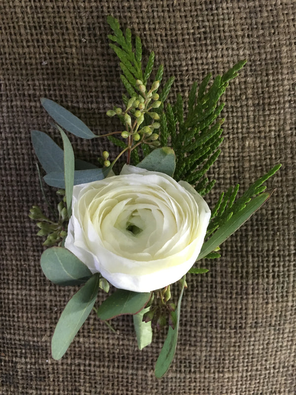 White Ranunculus Boutonniere - Winnipeg Flower Delivery by Broadway Florists