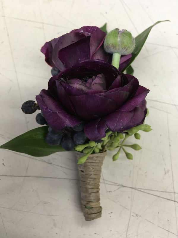 Burgundy Ranunculus Boutonniere - Winnipeg Flower Delivery by Broadway Florists