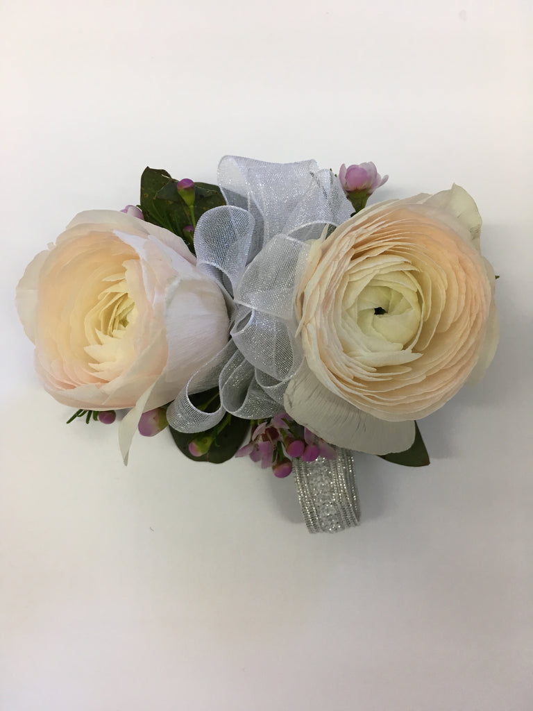 White ranunculus corsage - Winnipeg Flower Delivery by Broadway Florists
