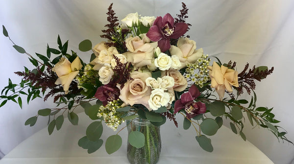Airy burgundy and blush wedding bouquet - Winnipeg Flower Delivery by Broadway Florists