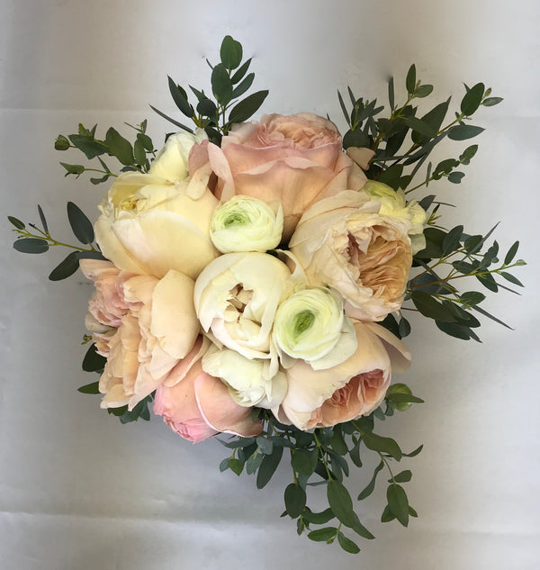 Pink Garden roses with ranunculus. - Winnipeg Flower Delivery by Broadway Florists