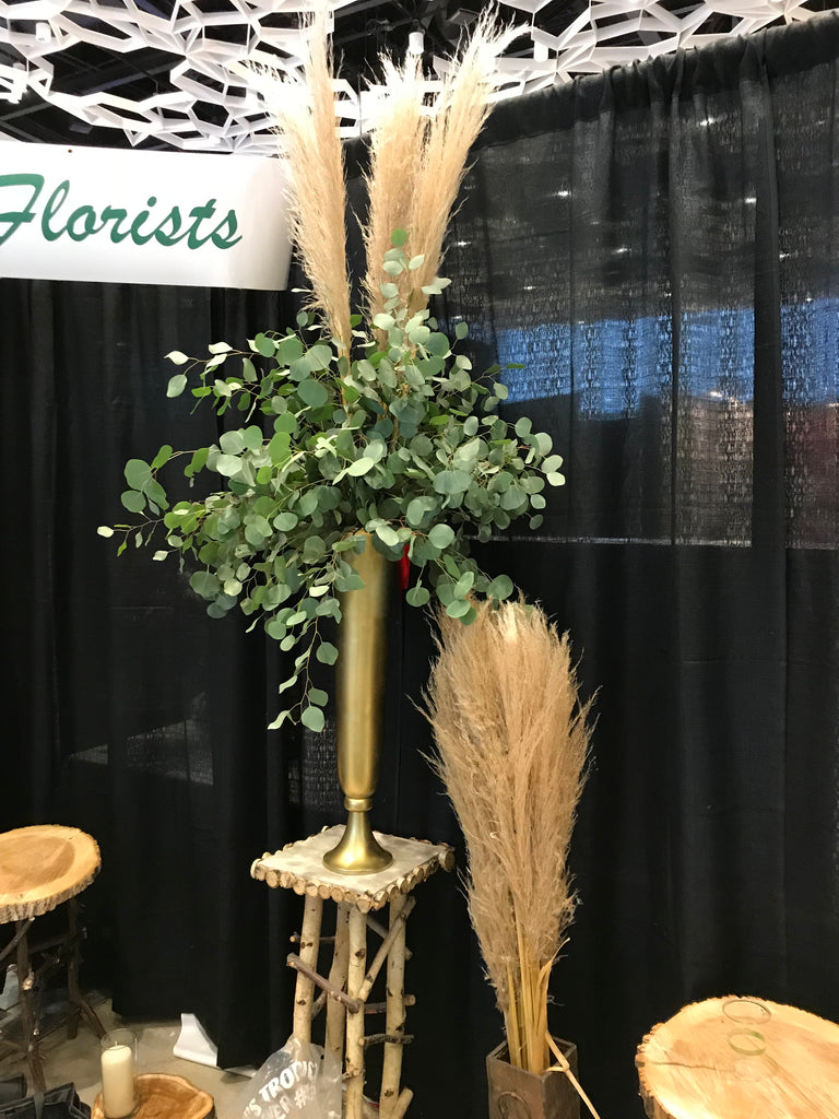 Gold metal stand arrangement - Winnipeg Flower Delivery by Broadway Florists