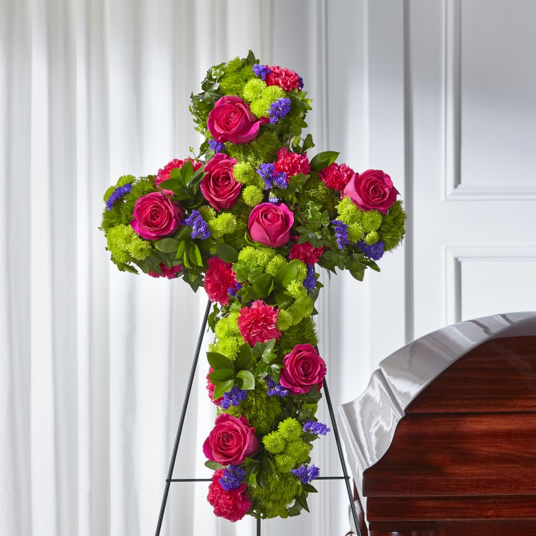 Tribute Rose Floral Cross