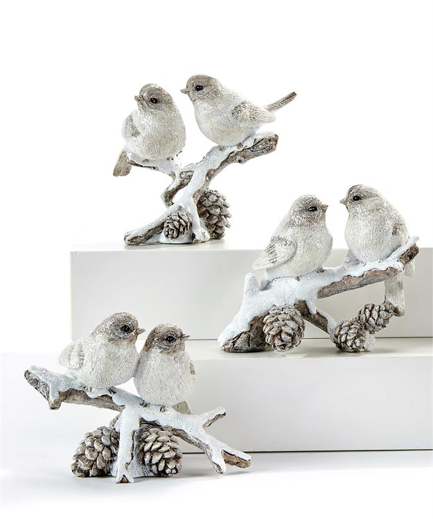 White Birds on Branch Figurine