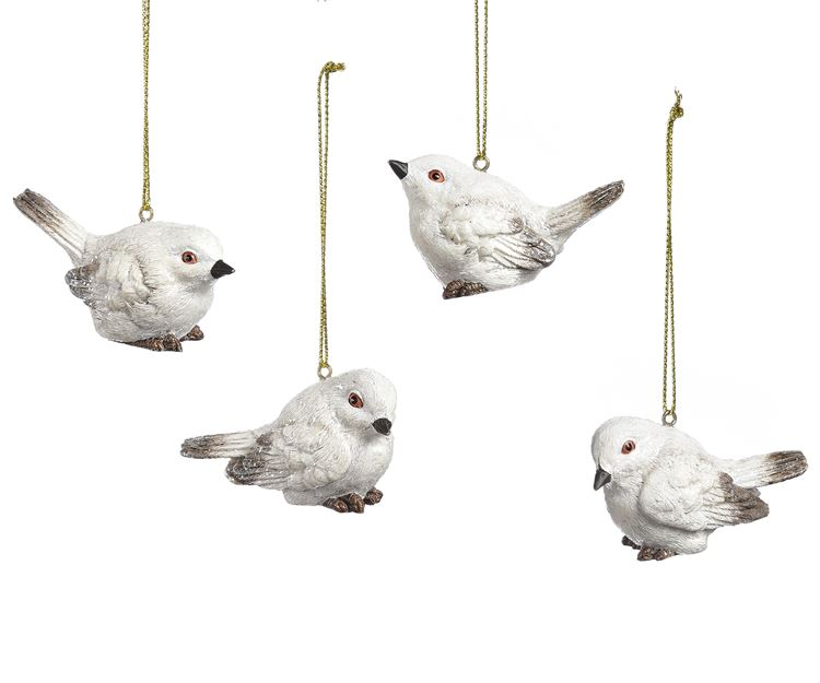 Winter White Bird Ornament, 4 Asst.