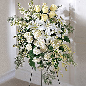 The FTD Quiet Tribute Standing Spray - Winnipeg Flower Delivery by Broadway Florists