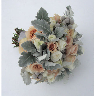 Roses and Dusty Miller Bouquet - Winnipeg Flower Delivery by Broadway Florists