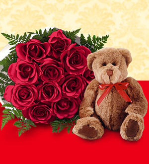1 Dozen Red Roses with Bear- wrapped - Winnipeg Flower Delivery by Broadway Florists