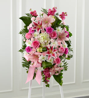 The FTD Gently into the Ever-After Standing Spray - Winnipeg Flower Delivery by Broadway Florists