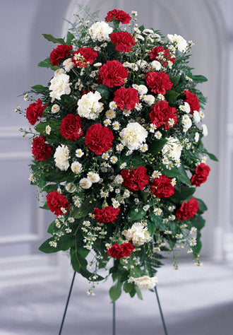 The FTD Crimson & White Standing Spray - Winnipeg Flower Delivery by Broadway Florists