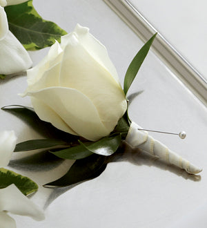 The FTD White Rose Boutonniere - Winnipeg Flower Delivery by Broadway Florists