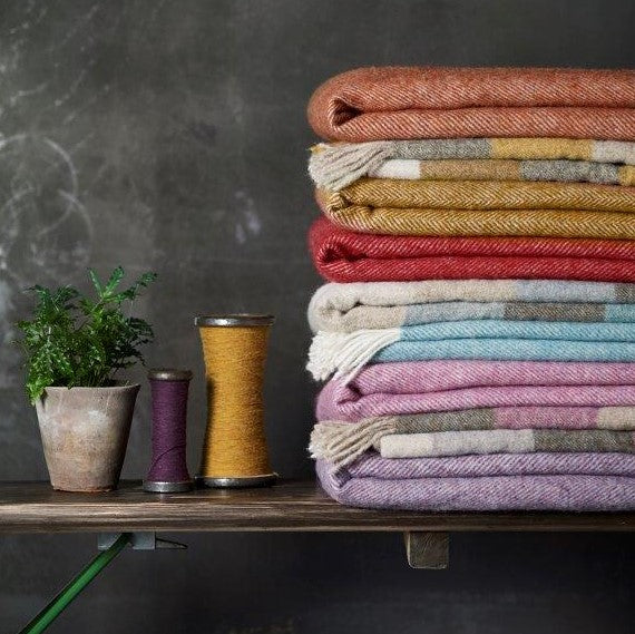 Beautiful merino lambswool throws and cushions by Bronte by Moon in an array of fetching colours