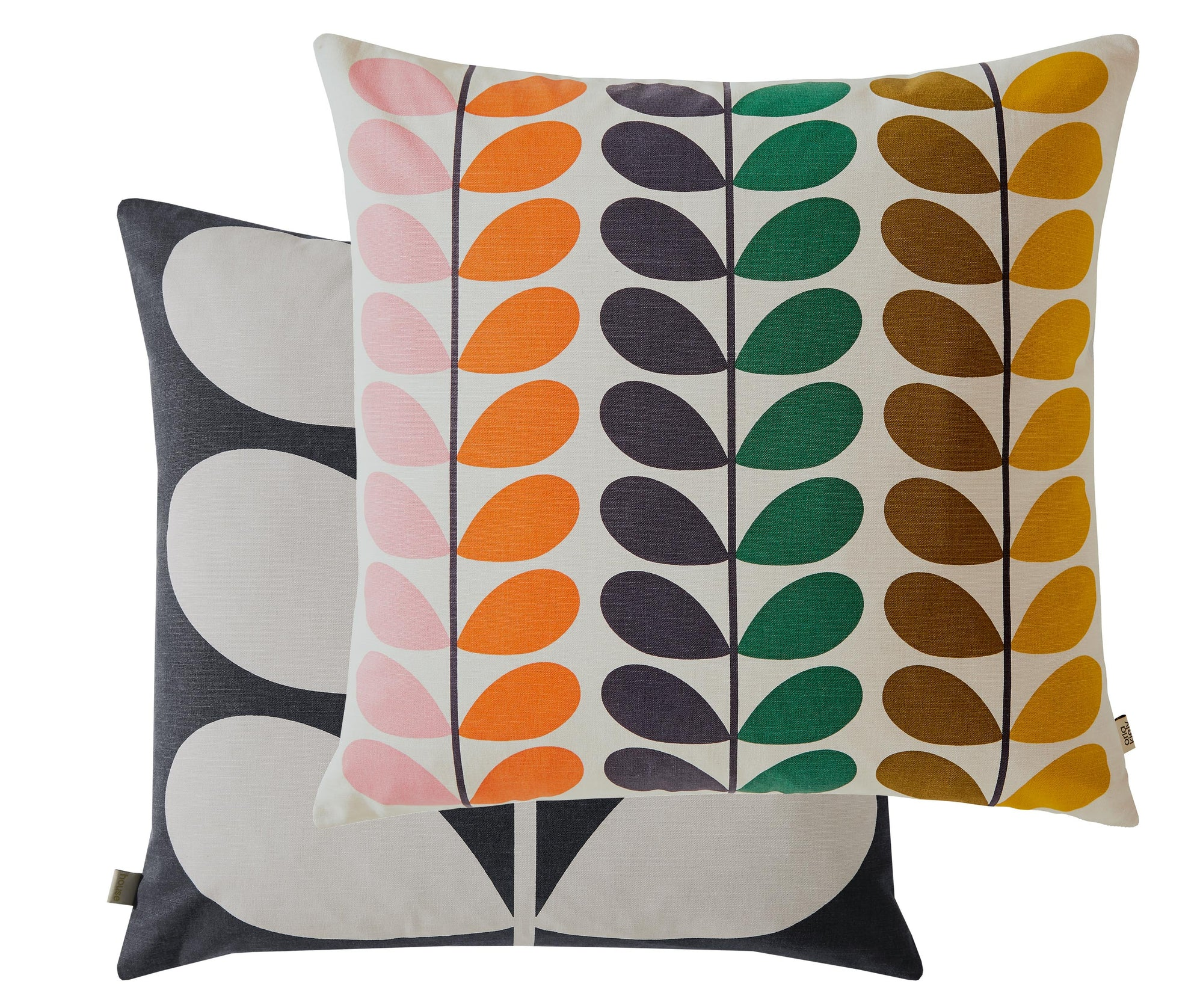 Brighten up your home with this fcheery Orla Kiely cushion, featuring a multi colour Duo Stem design with a black and off white large stem print design on the reverse side. This cushion is part of the new 2021 collection which has just been released.