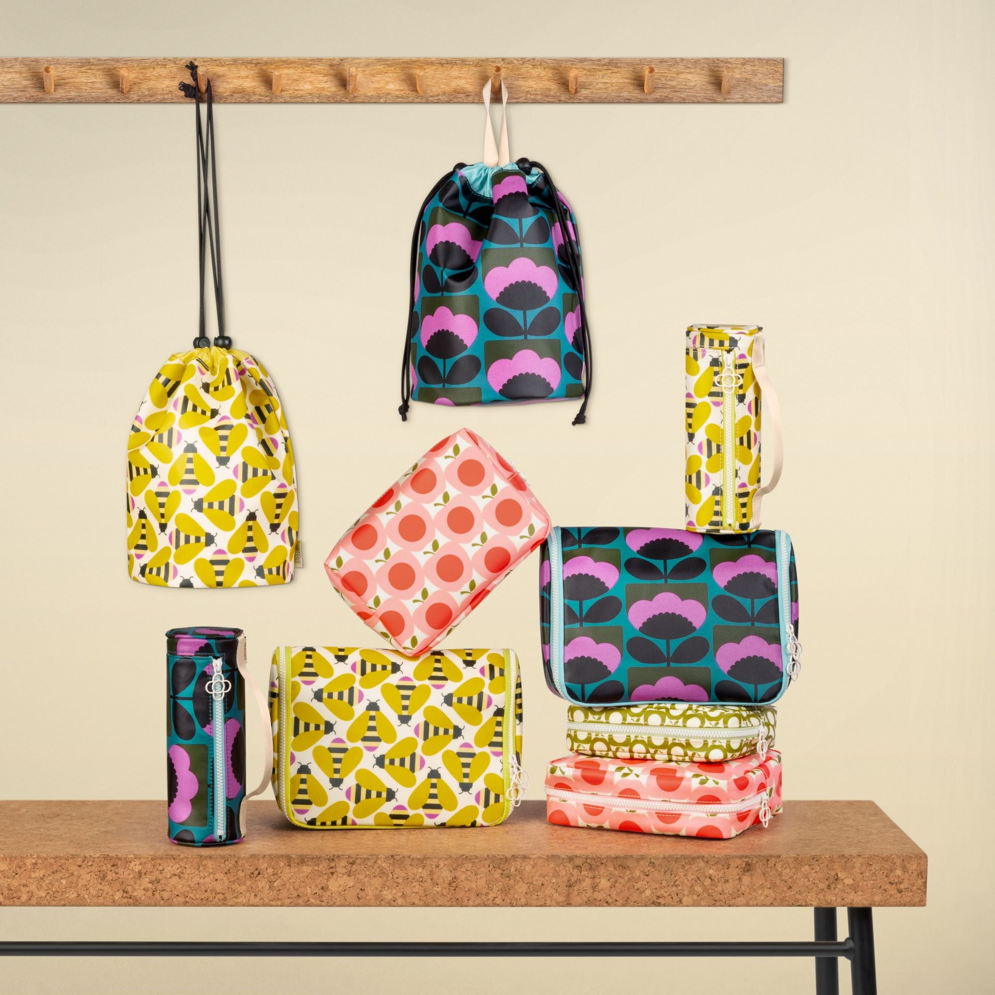 Get ready for Spring with these perfect travel accessories by Orla Kiely, featuring Orla's latest Busy Bee, Spring Blossom and Apple designs. We also have a many other beautiful designs available. Take a good look at our site.