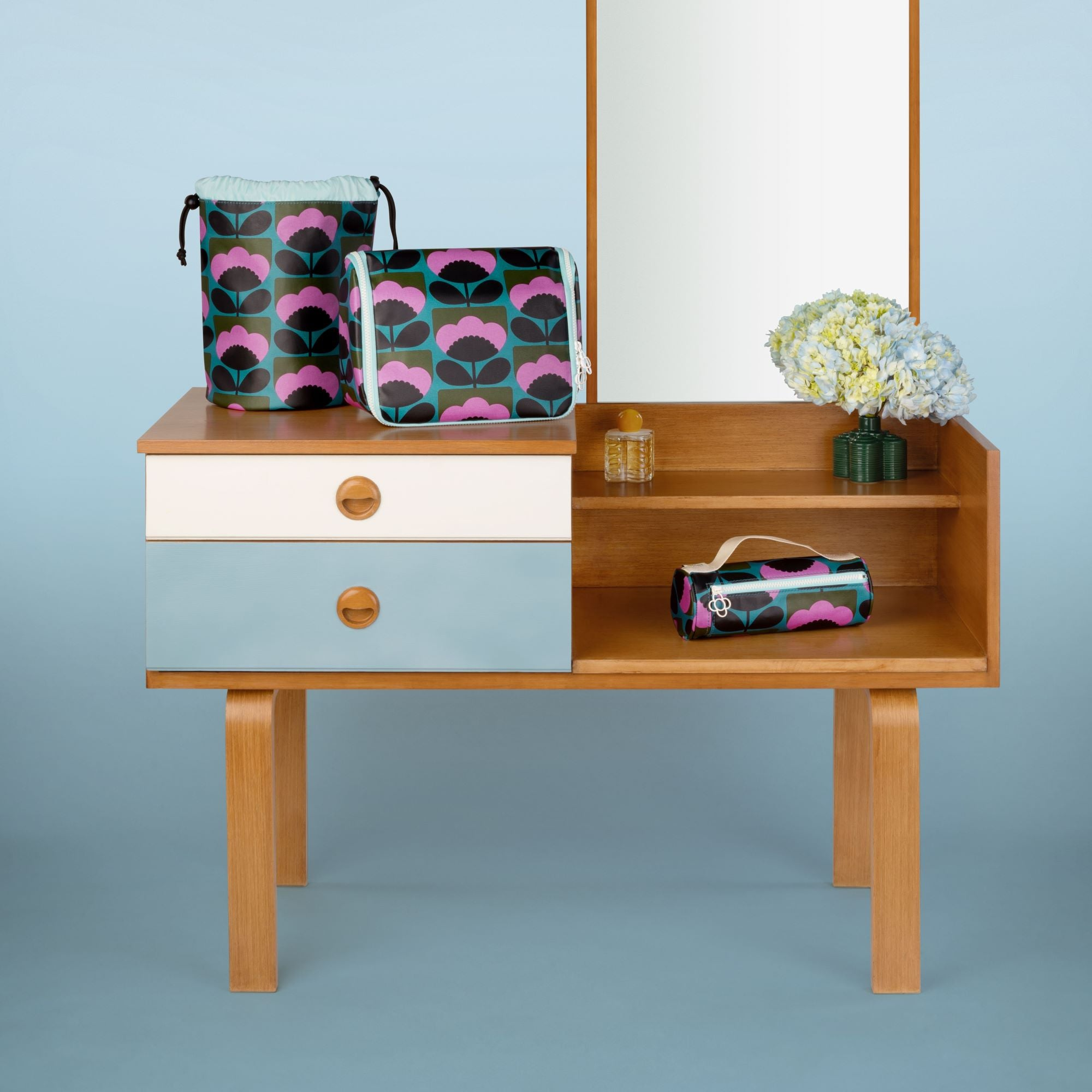 Stunning new range of Orla Kiely cushions and toiletry bags as well as Orla's iconic range of stylish kitchenware, gardenware and accessories such as watches and clocks, all at Bouchic, Isle of Wight