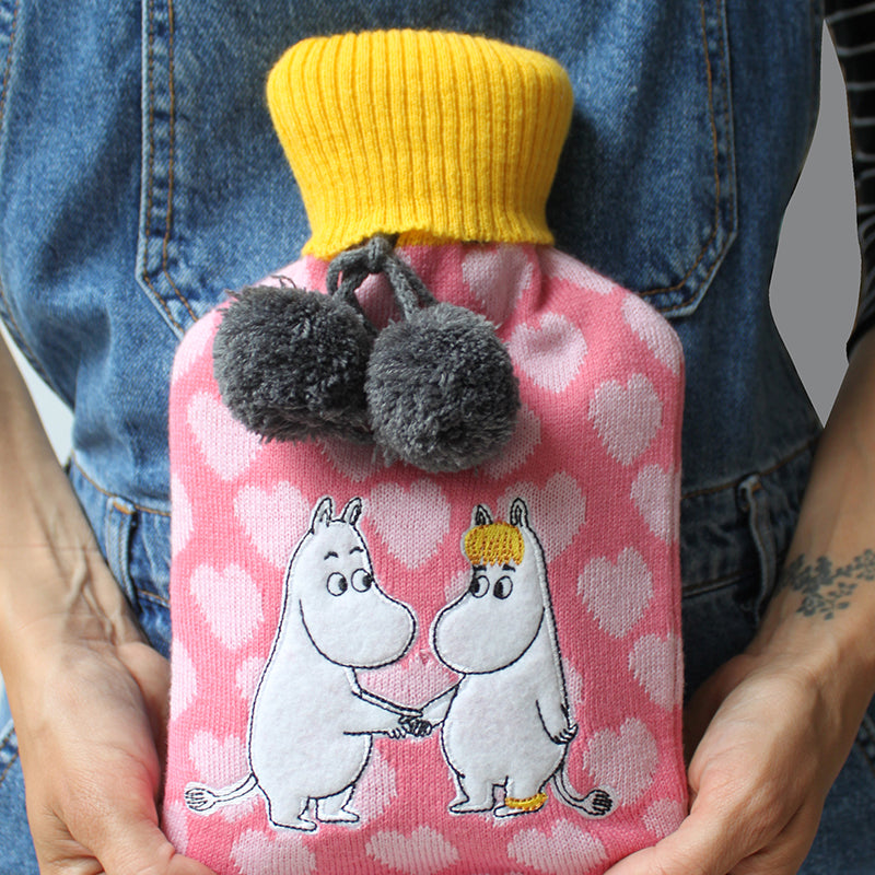 Moomin Love hugging Hot water bottle with grey pom pom by House of Disaster