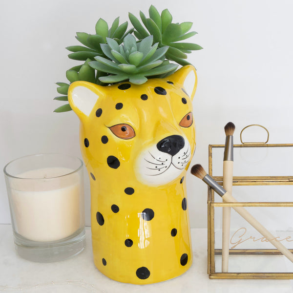 LEOPARD CERAMIC VASE BY LISA ANGEL YELLOW WITH BLACK SPOTS