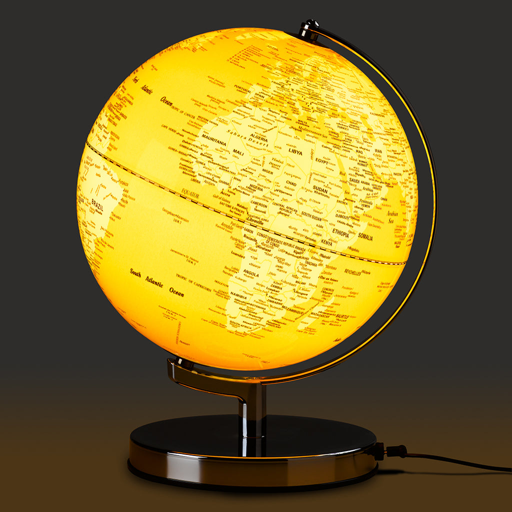 Discover the world from the comfort of your own home with this stunning Light Up Globe in English Mustard Yellow on a chrome stand. Many other colours available too, such as goldfish orange, French Blue, Silver and pink