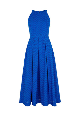 Alyssa Emily & Fin Ocean Blue Broderie Anglaise Midi Dress Dress BouChic | Homeware, Fashion, Gifts, Accessories