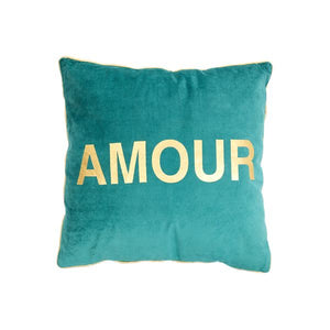 'Amour' Velvet Jade Square Cushion - BouChic