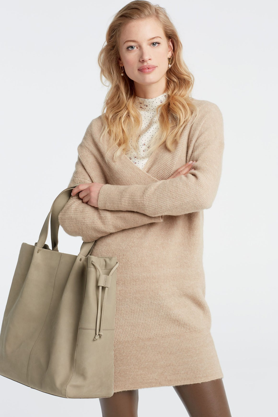 Beige YaYa Knitted V Neck Dress Dress BouChic | Homeware, Fashion, Gifts, Accessories