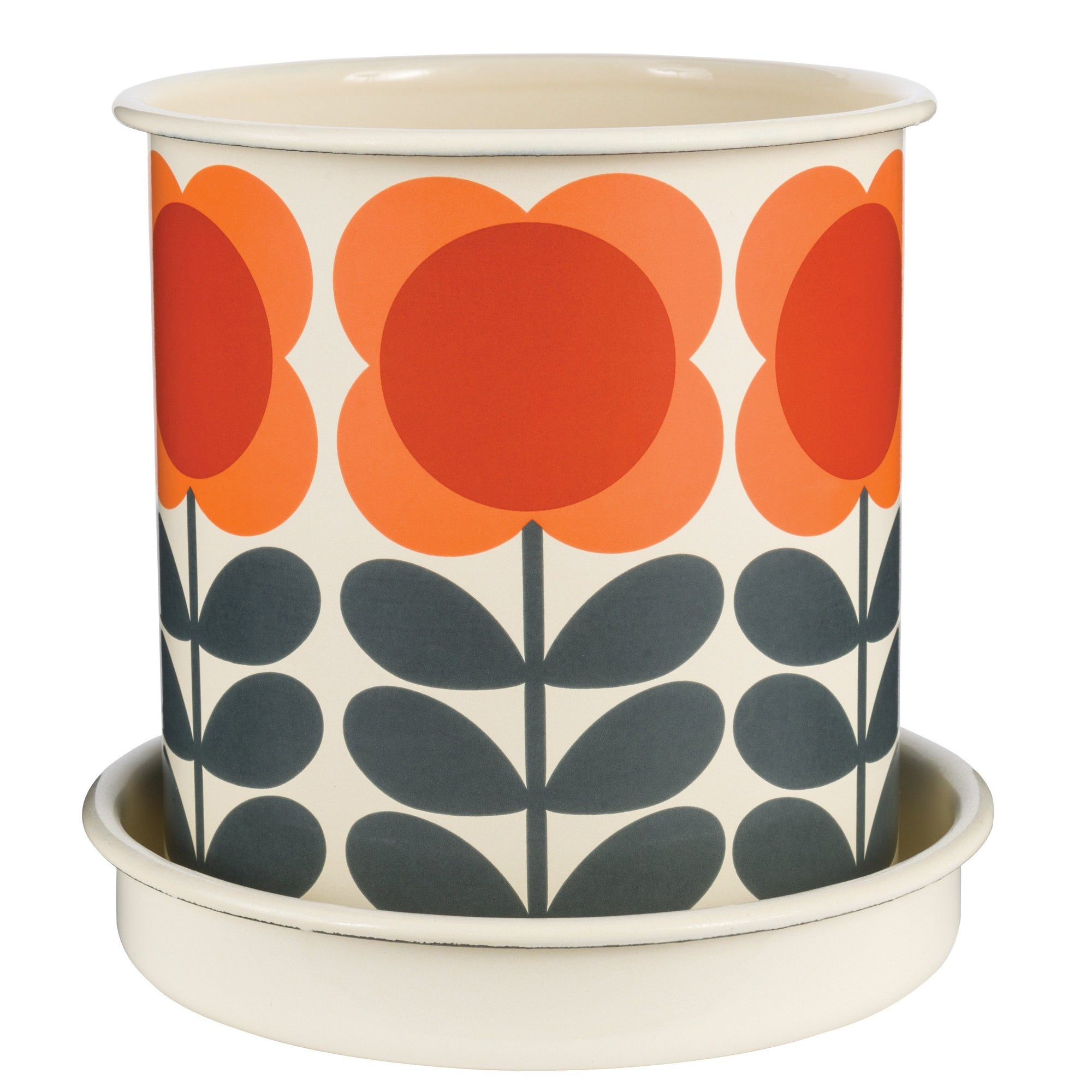 Big Spot Flower Stem Enamel Plant Pot Orange Orla Kiely - BouChic