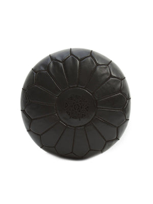 Black Leather Pouffe - BouChic
