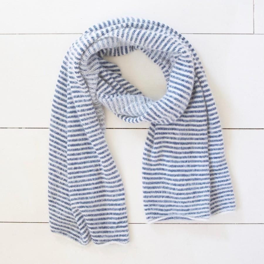 Blue and White Striped Scarf - BouChic