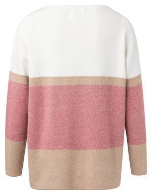 Boat Neck Pink Rouge Sweater With Striped Print - BouChic