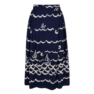 Clovelly Fever Designs Navy/Cream Skirt - BouChic
