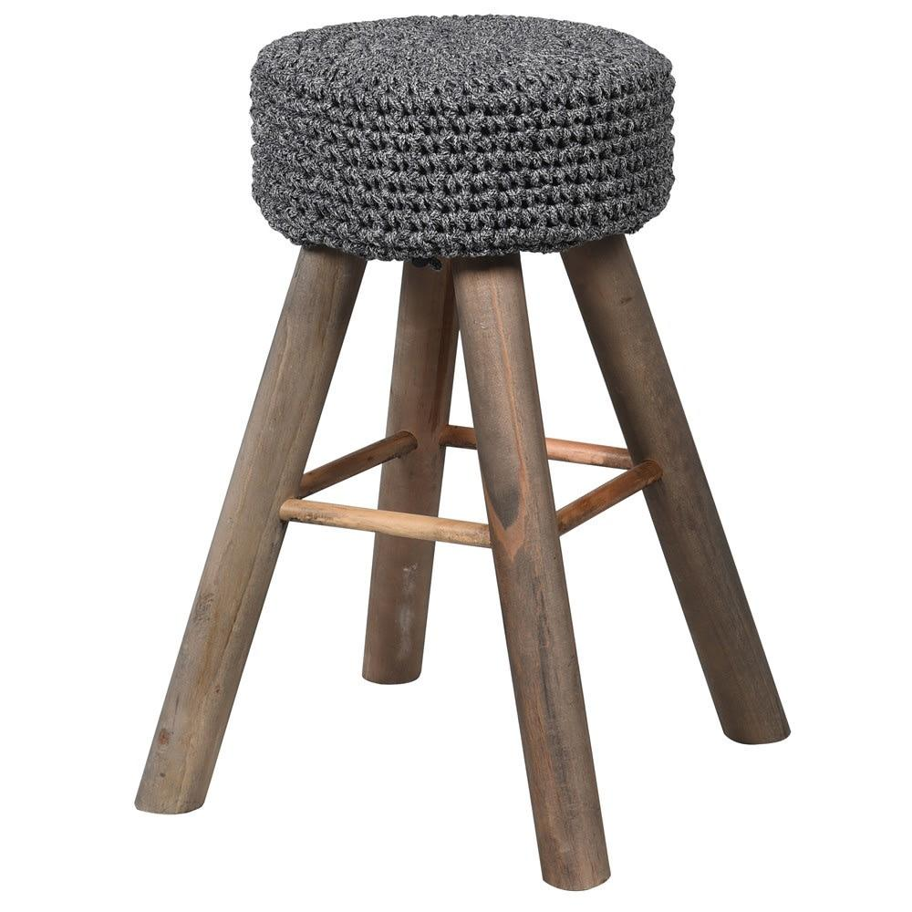 Cotton Rope Top Stool Charcoal Grey - BouChic